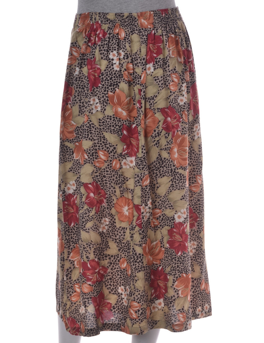 Midi Skirt Light Brown With An Elasticized Waist
