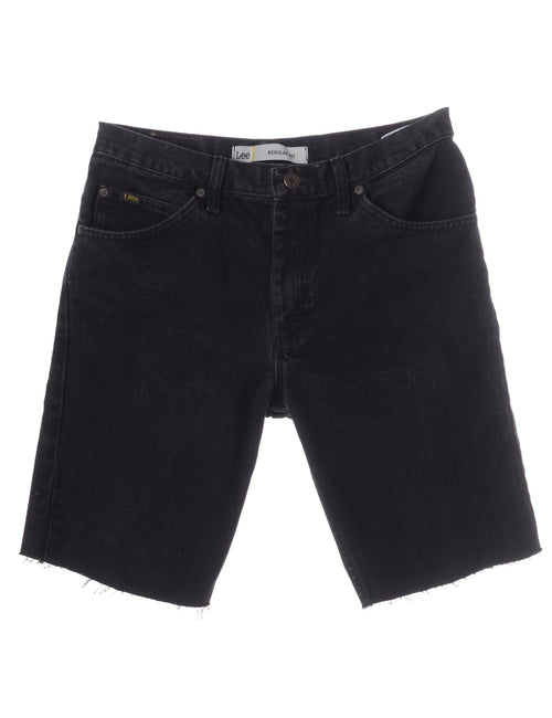 Beyond Retro Label Toby Mens Denim Shorts Black With Multiple Pockets