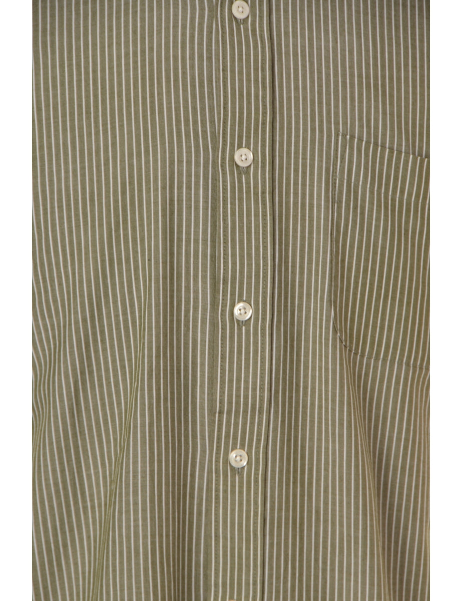 Label Roll Sleeve Stripy Shirt