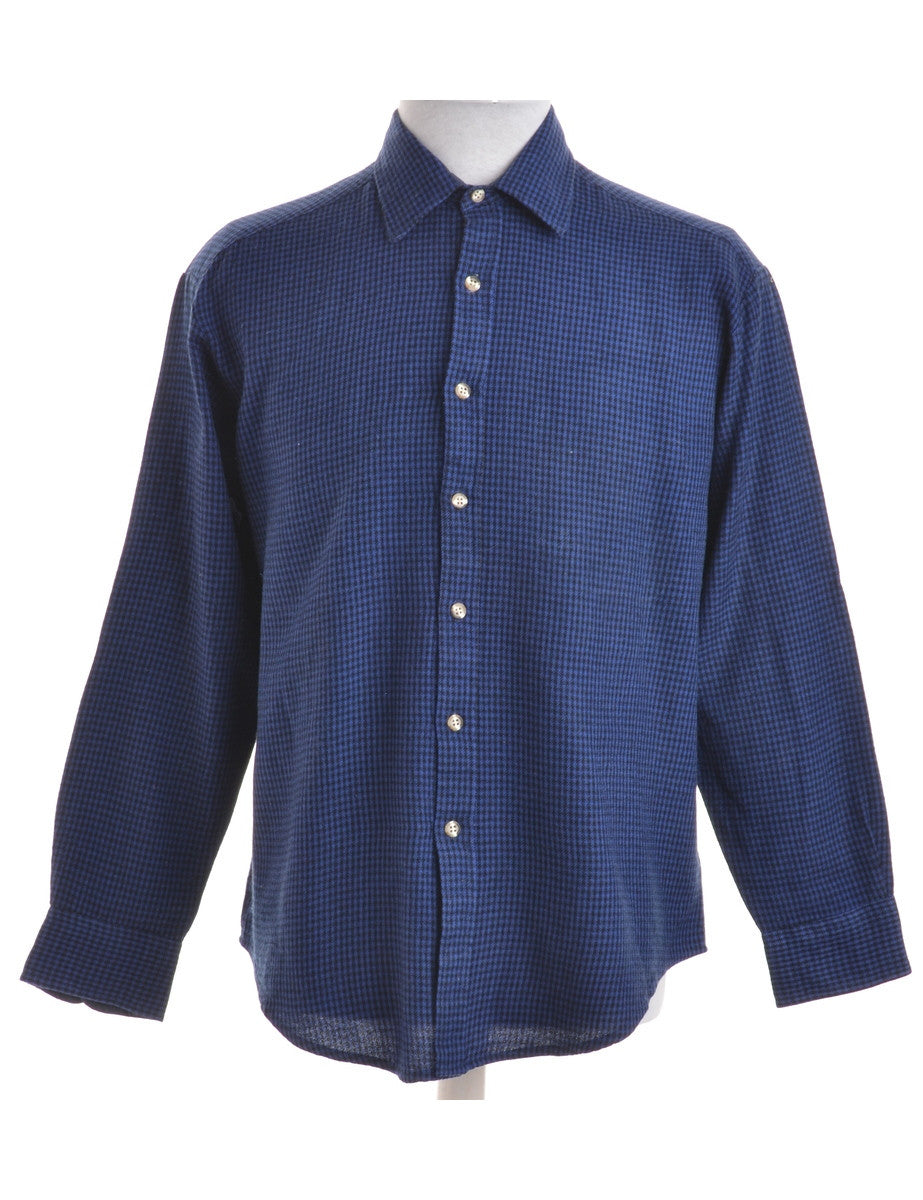 Checked Shirt Blue With Pockets