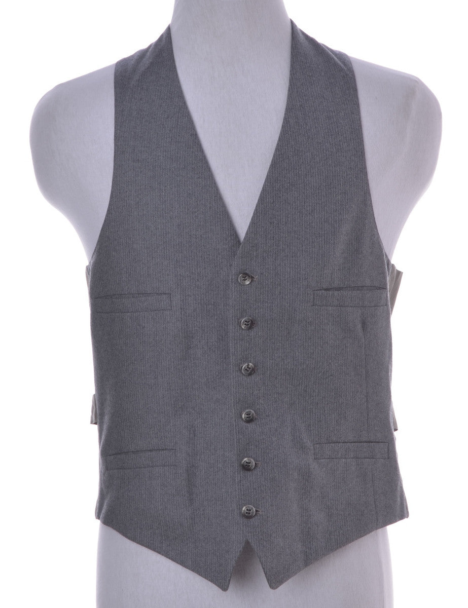Waistcoat Grey With Decorative Pockets