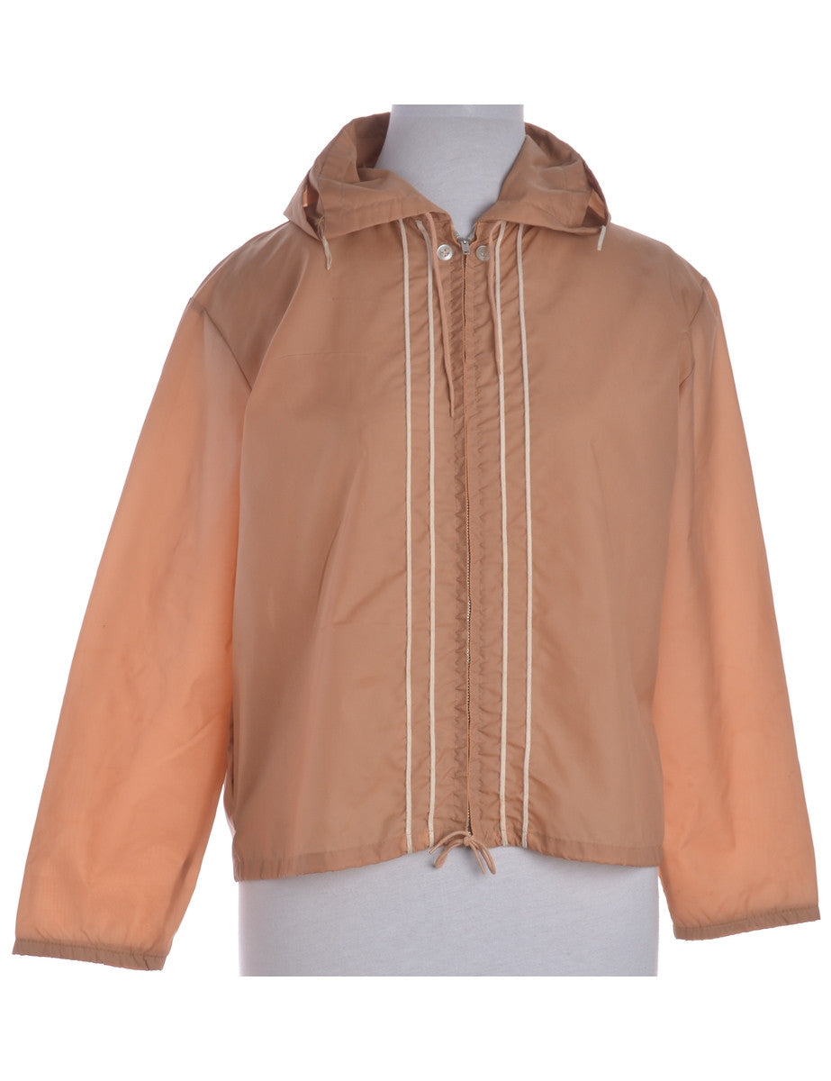 Vintage Casual Jacket Light Brown With A Hood