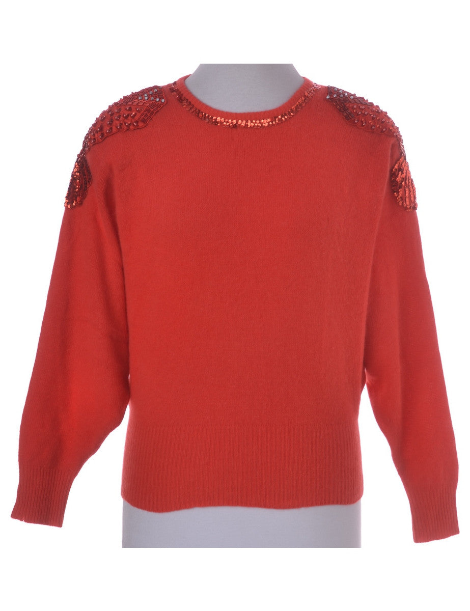 Vintage Jumper Red With Beading