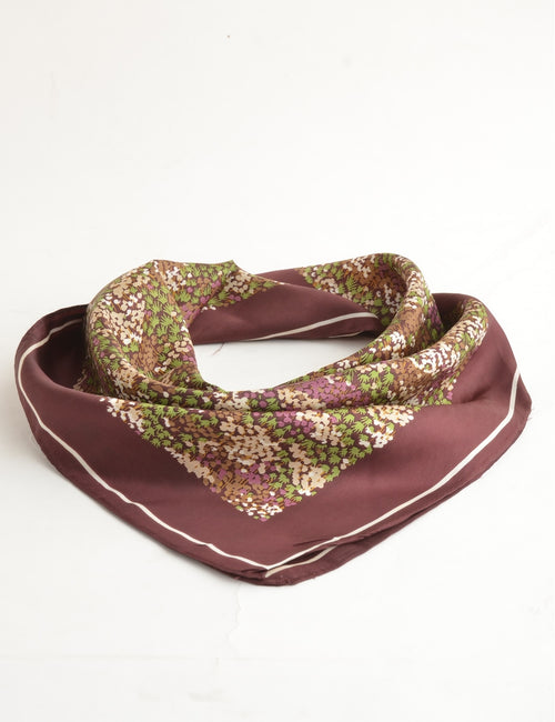 Vintage Silk Scarf Brown With A Hand Rolled Hem