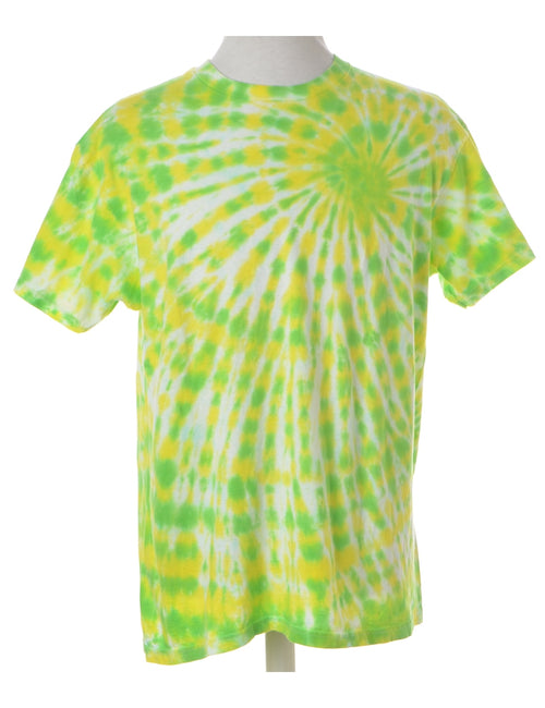 Printed T-shirt Lime Green With A Round Neck