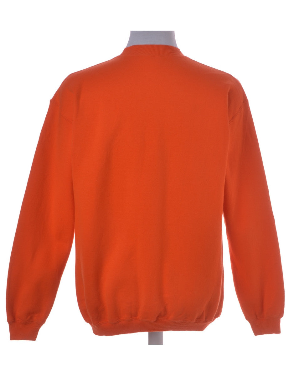 Printed Sweatshirt Orange With A Round Neck
