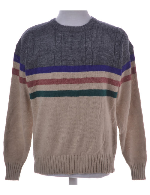 Vintage Jumper Light Brown With A Crew Neck