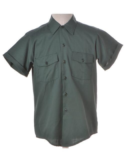 Beyond Retro Label Dickies Shirt Green With A Classic Collar