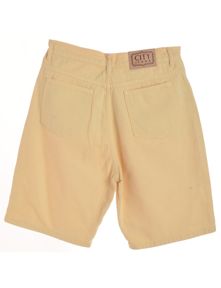 Denim Shorts Yellow With Multiple Pockets