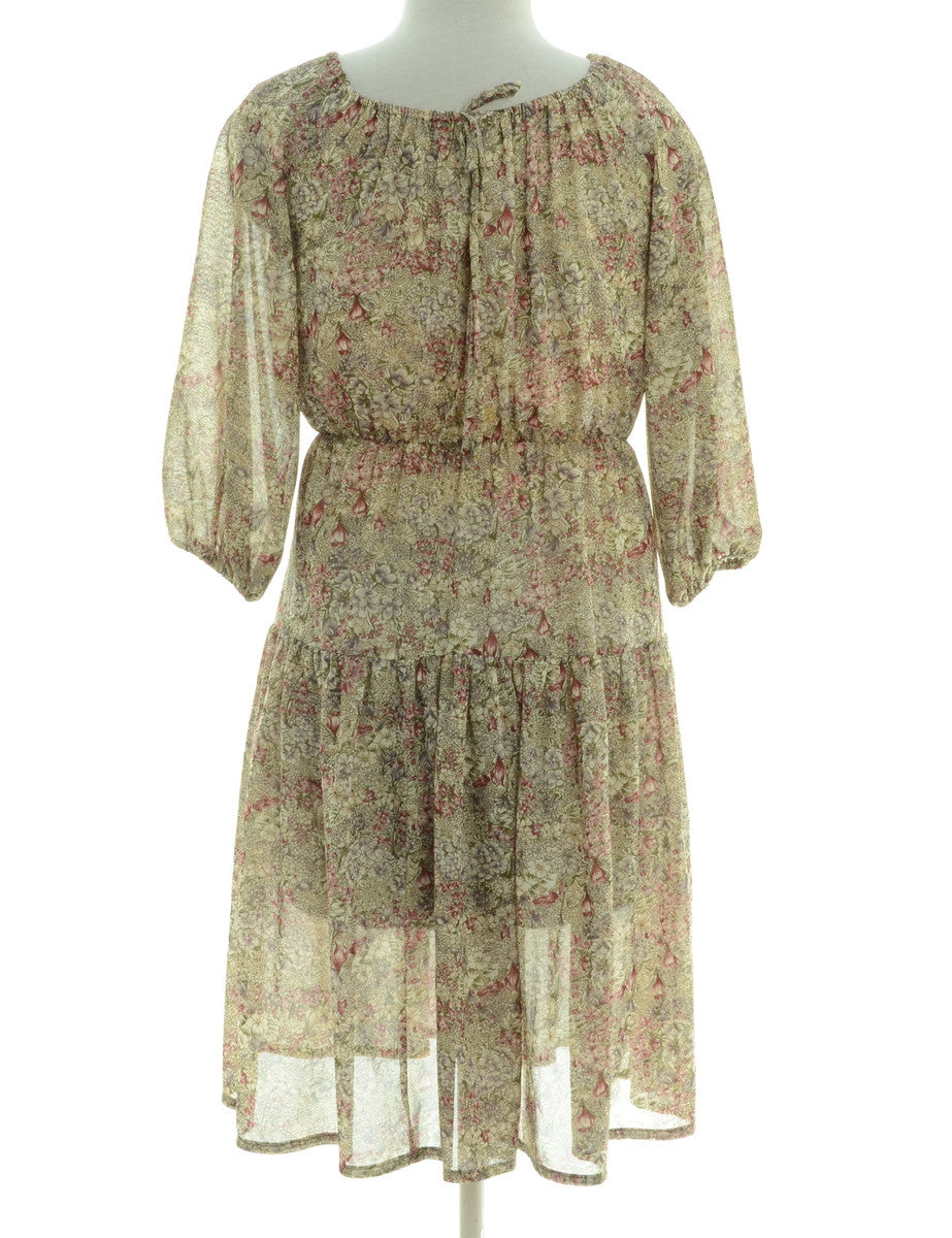 Day Dress Beige With A Drawstring Neck
