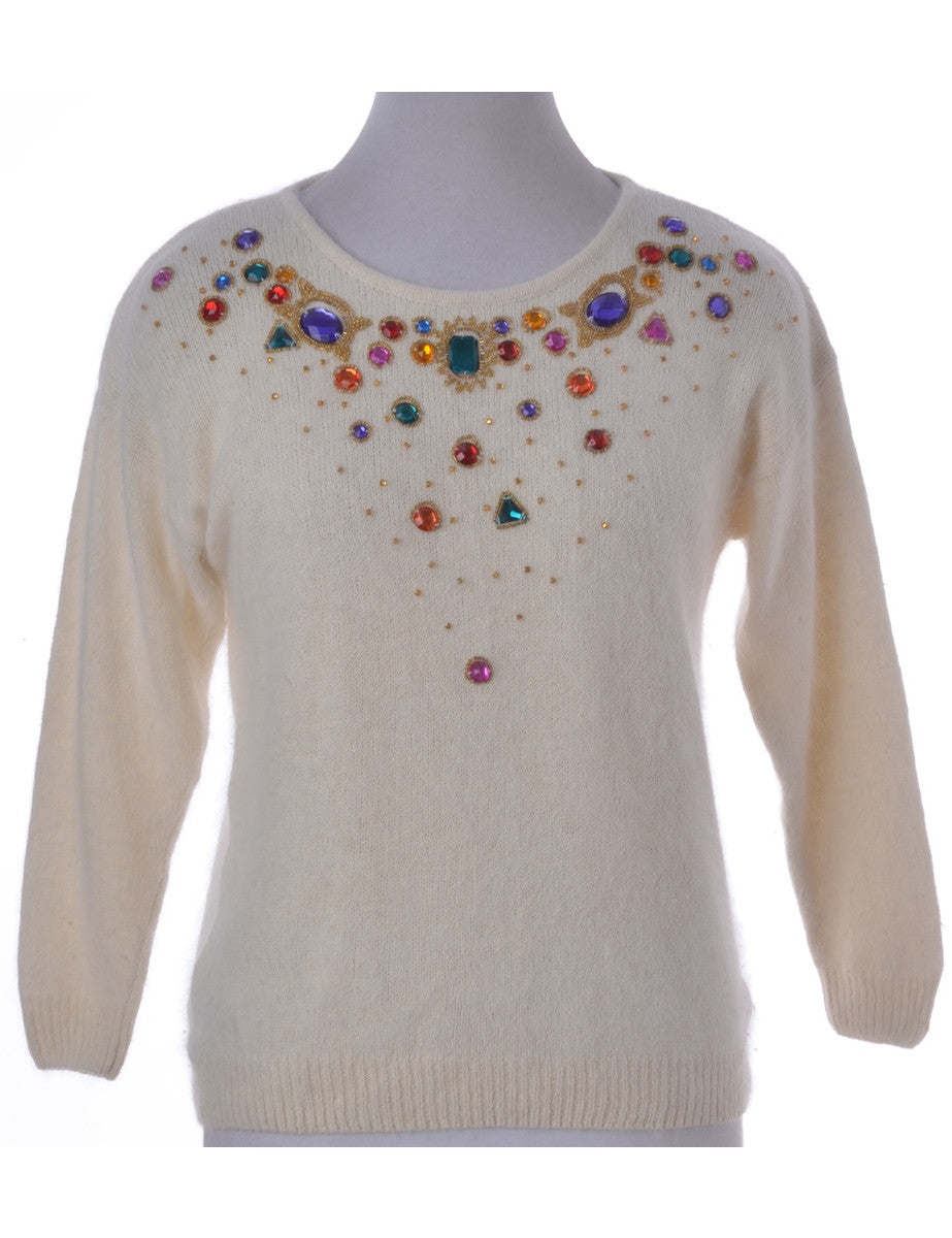 Jumper Off White With Beading