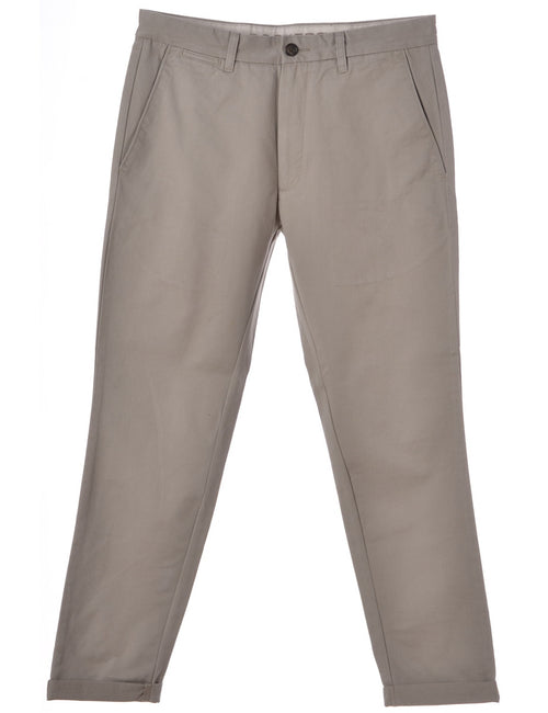Beyond Retro Label Tapered Trousers Cream With A Rolled Hem