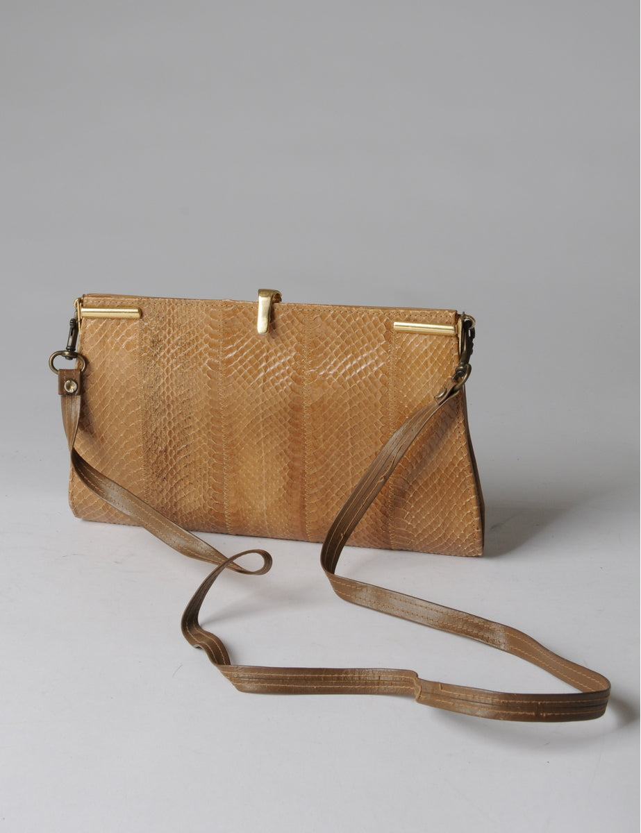 Leather And Reptile Skin Shoulder Bag