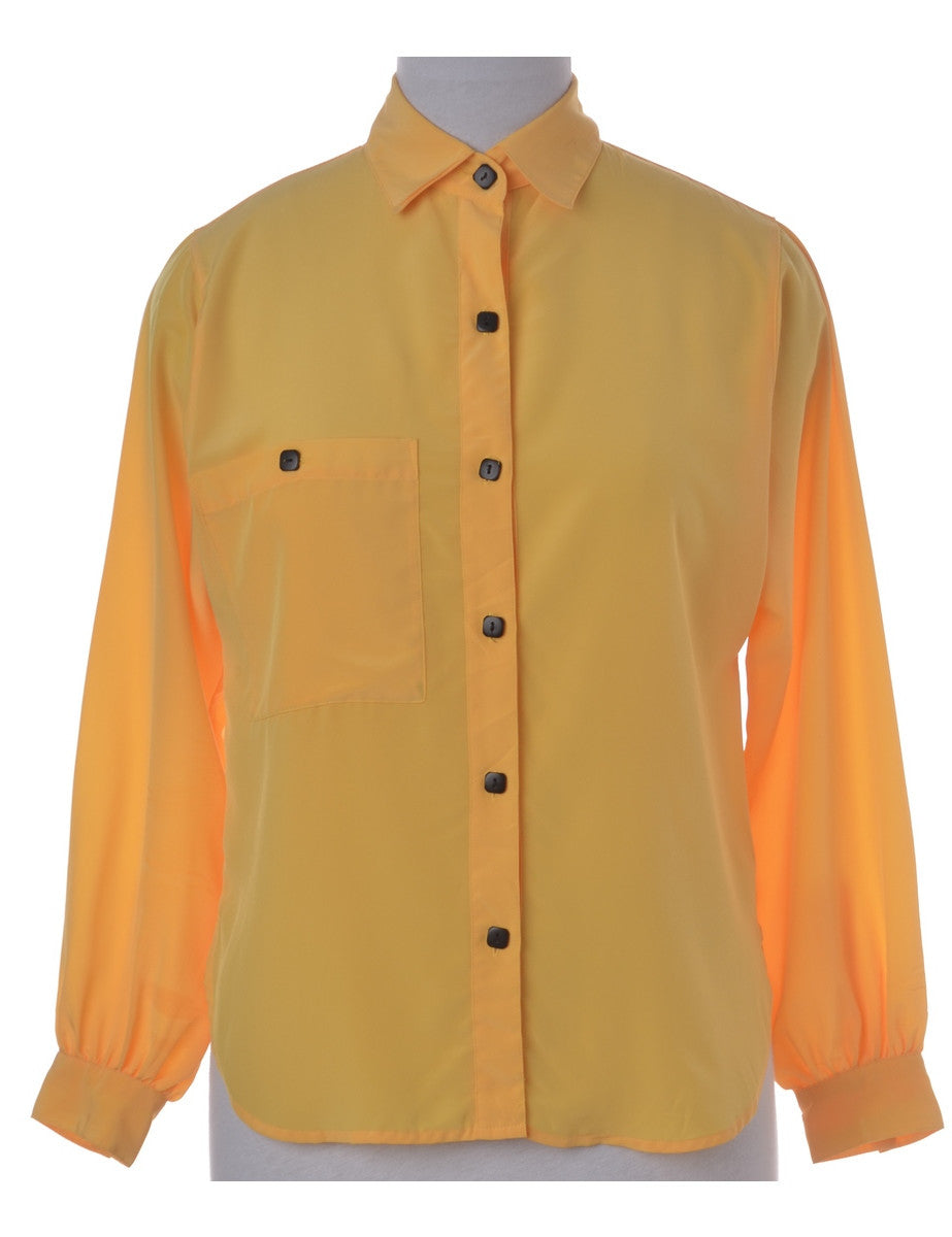 Shirt Yellow With Buttoned Pockets