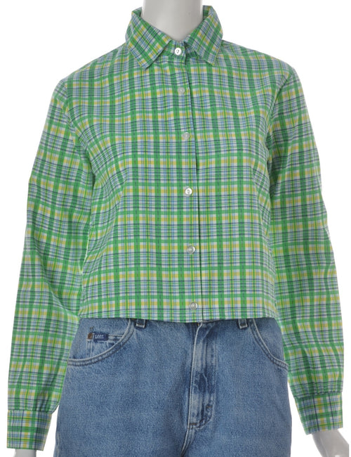 Checked Pattern Long Sleeved Blouse