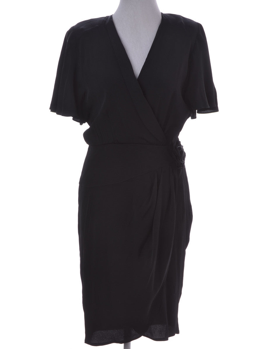 Day Dress Black With Removable Shoulder Pads