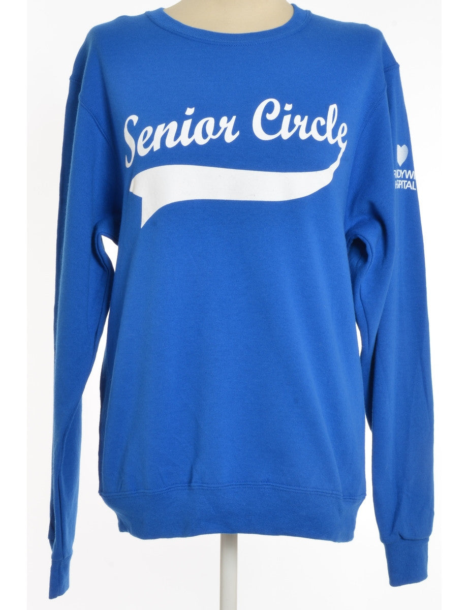 Printed Sweatshirt Blue With Print On Front
