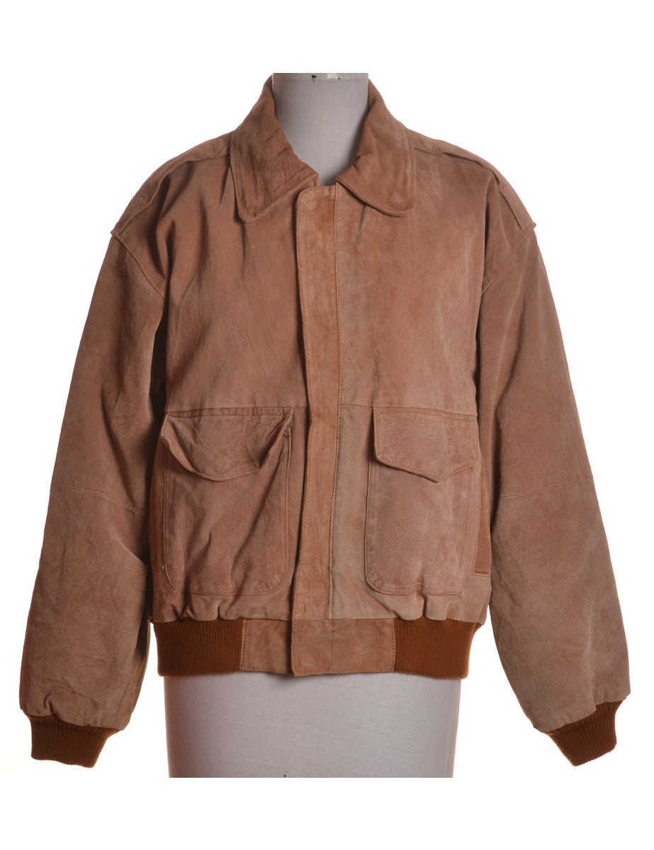 Vintage Leather Jacket Tan With Contrasting Lining