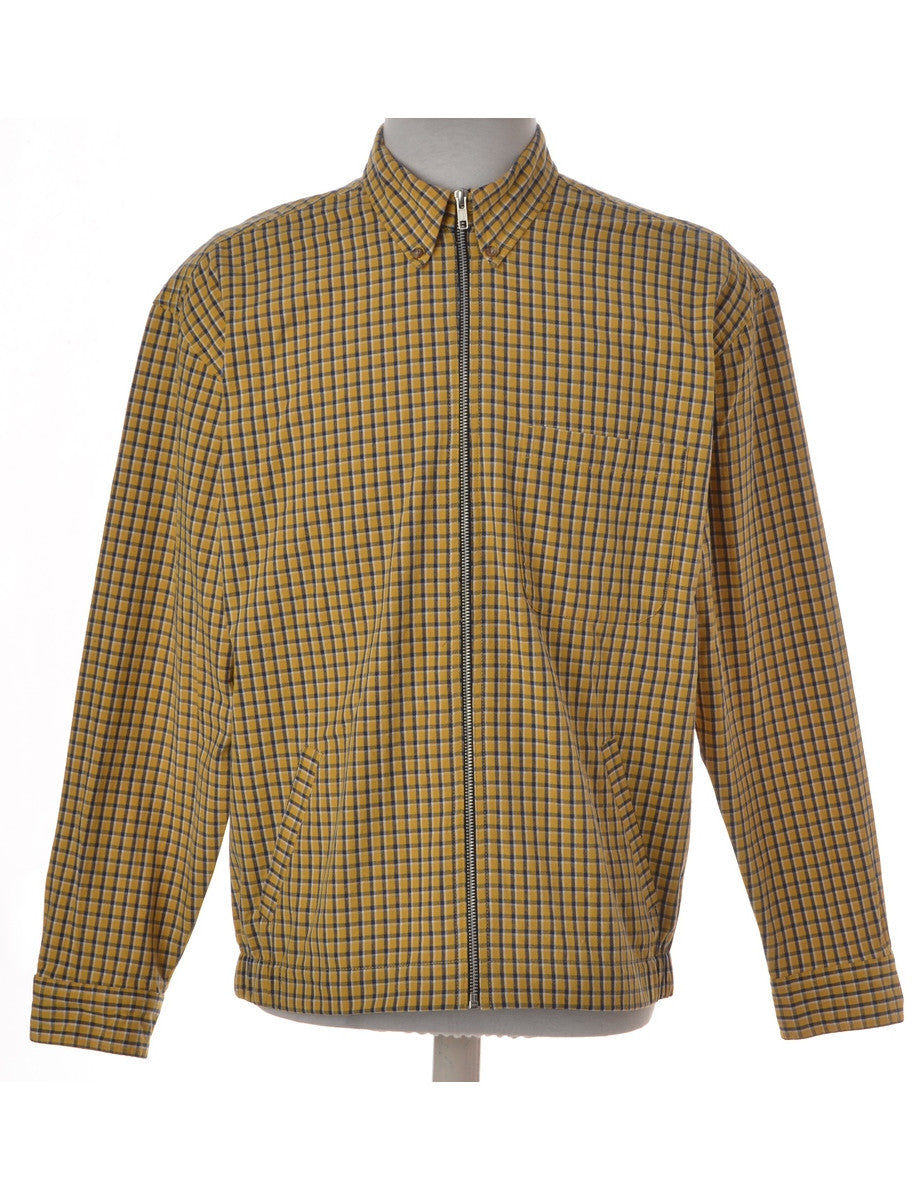 Beyond Retro Label Conversational Shacket Yellow With A Stand Collar