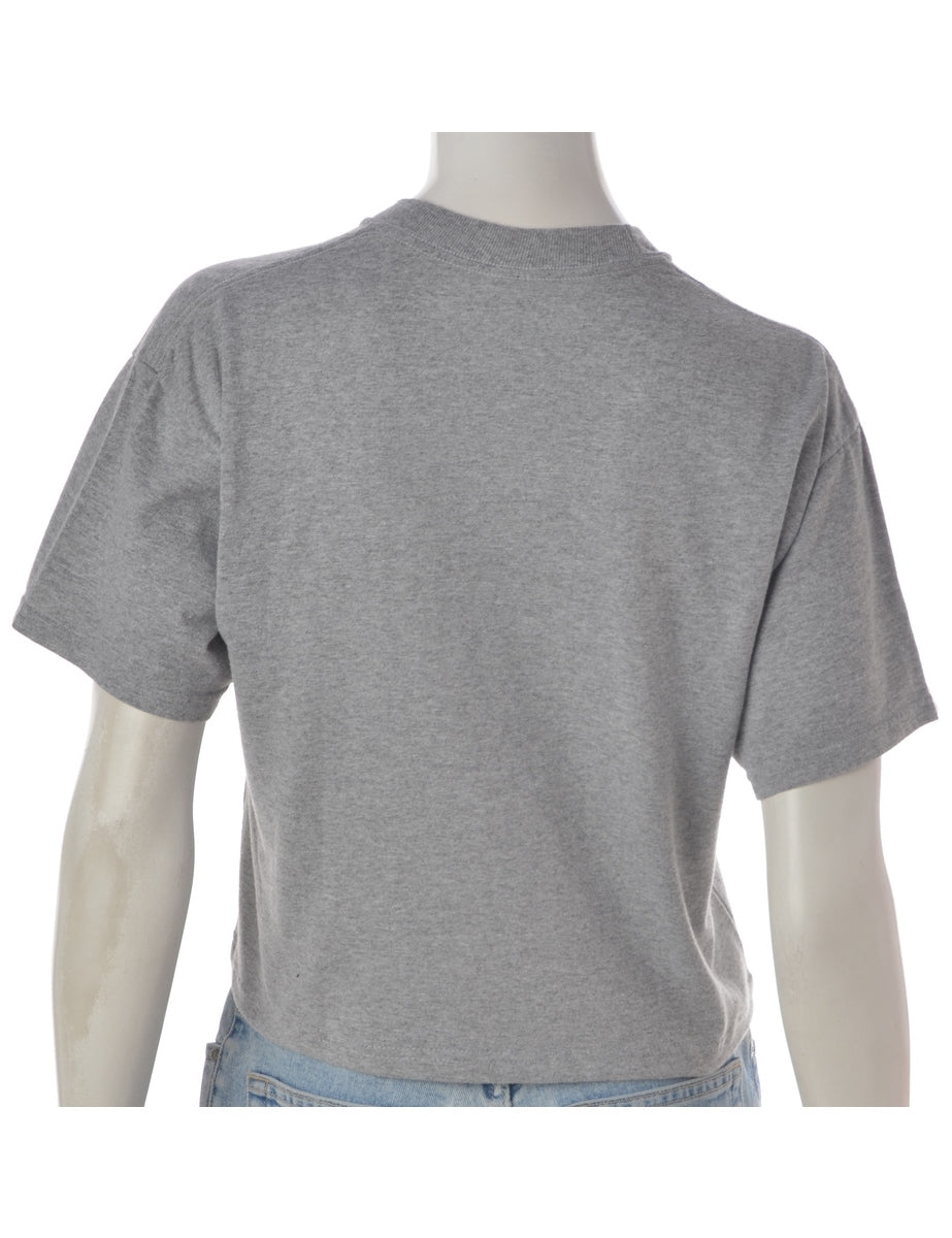 Label Grey Cropped Sports T-shirt