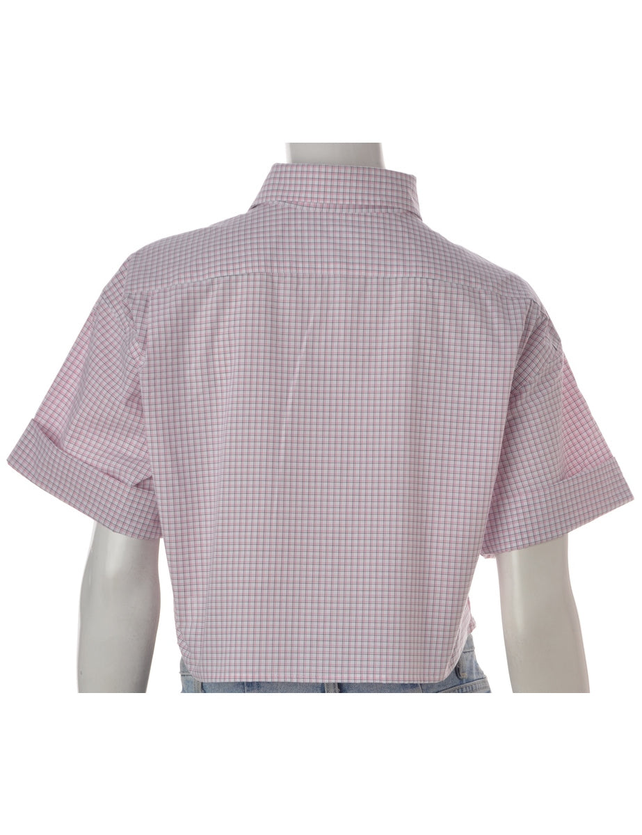 Label Boxy Cotton Cropped Gingham Shirt