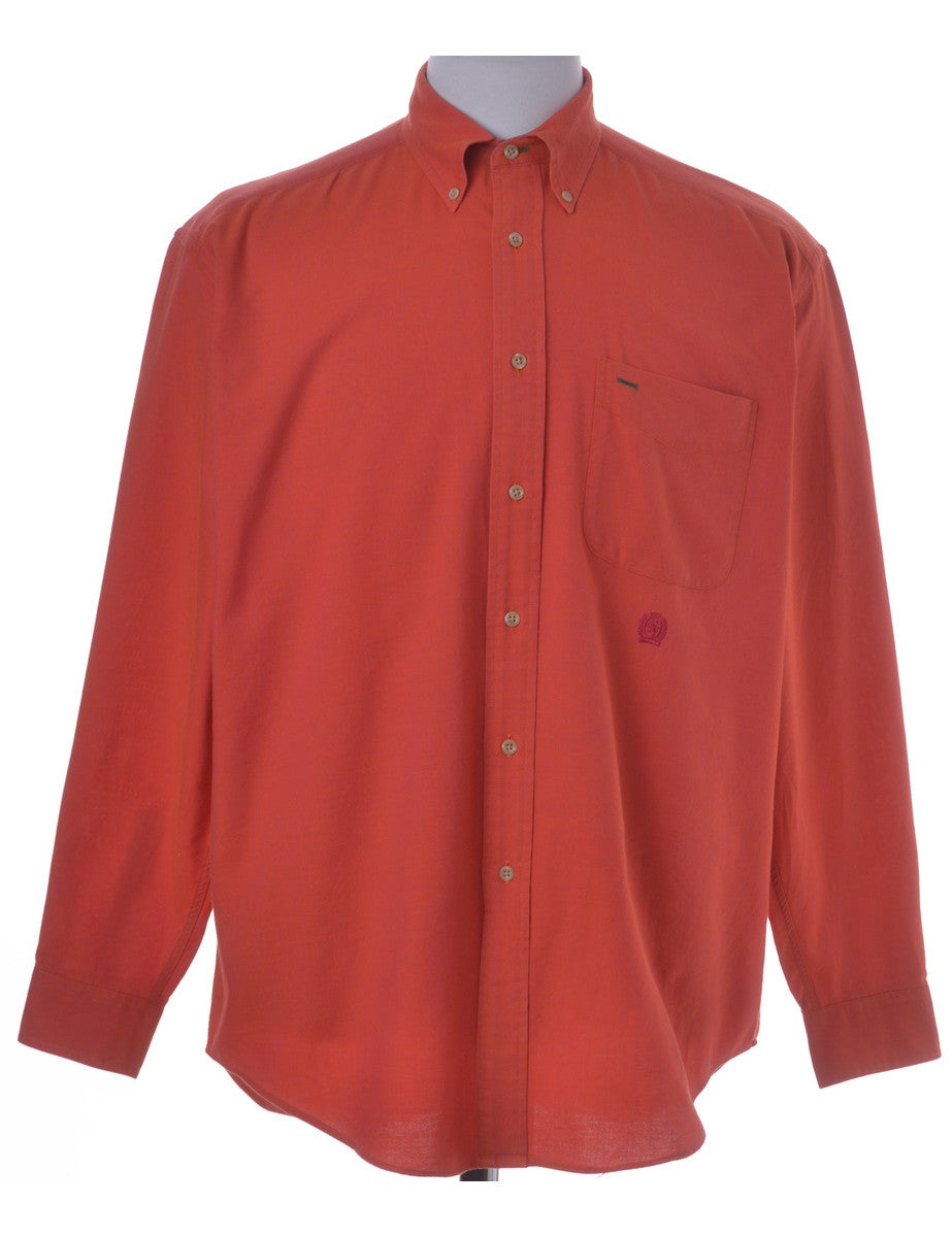 Casual Shirt Orange With A Button Down Collar