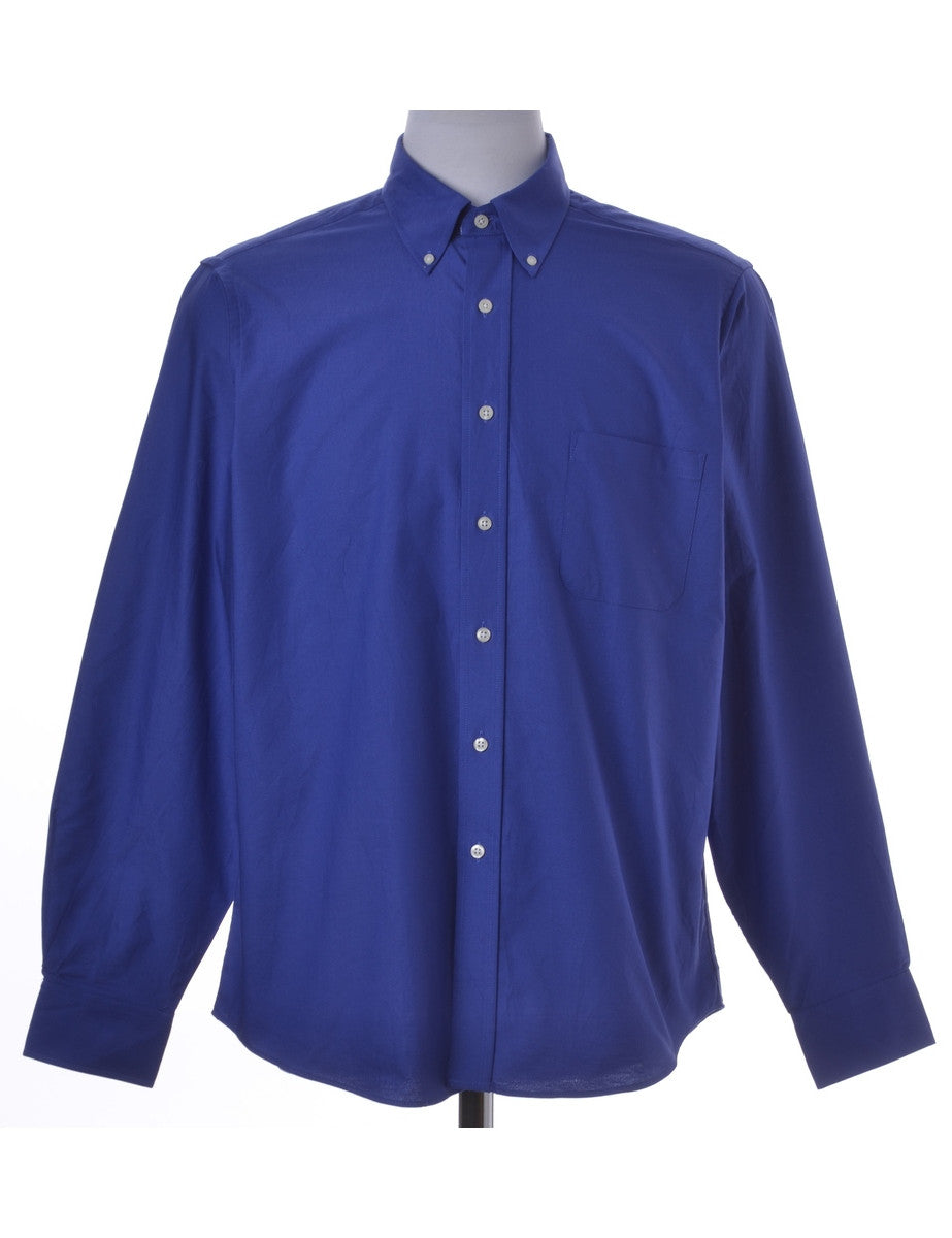 Casual Shirt Blue With A Button Down Collar