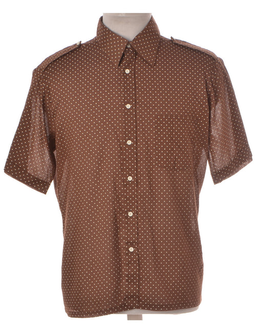 Vintage Casual Shirt Brown With A Classic Collar