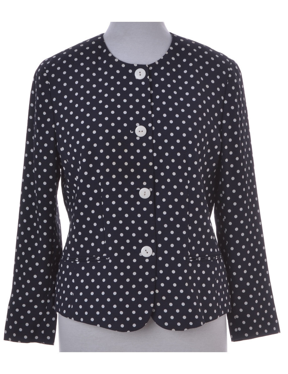 Casual Jacket Navy With A Round Neck