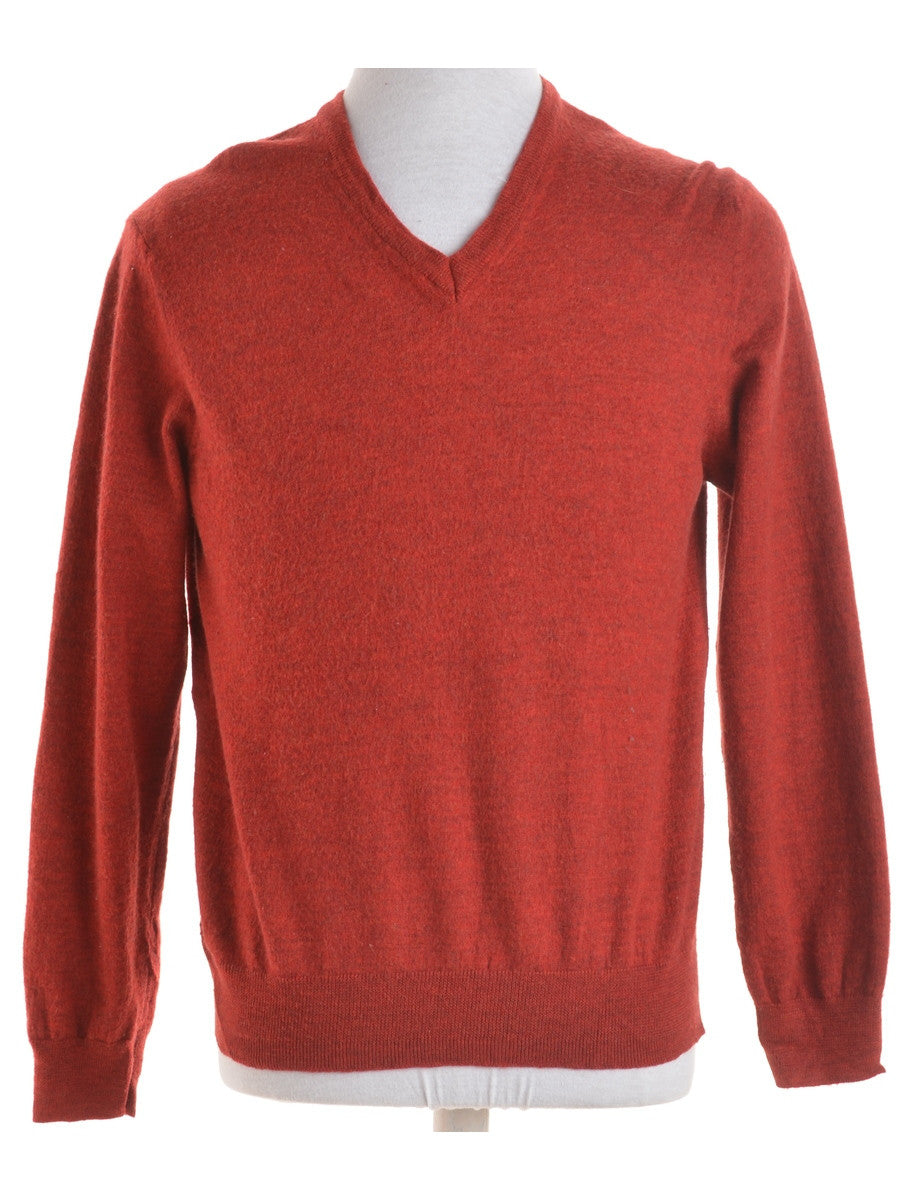 Jumper Terracotta With A V-neck