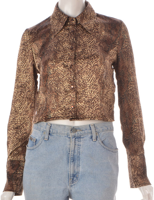 Label Cropped Long Sleeve Snakeskin Pattern Shirt