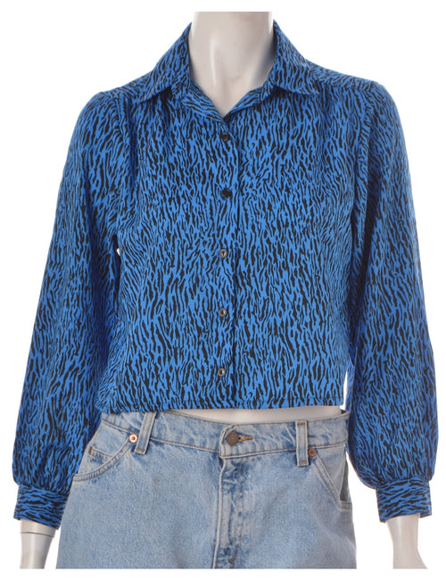 Label Cropped Long Sleeve Animal Print Shirt
