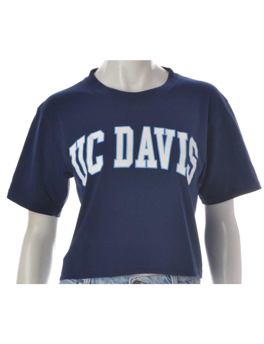 Label Navy Cropped Sports T-shirt