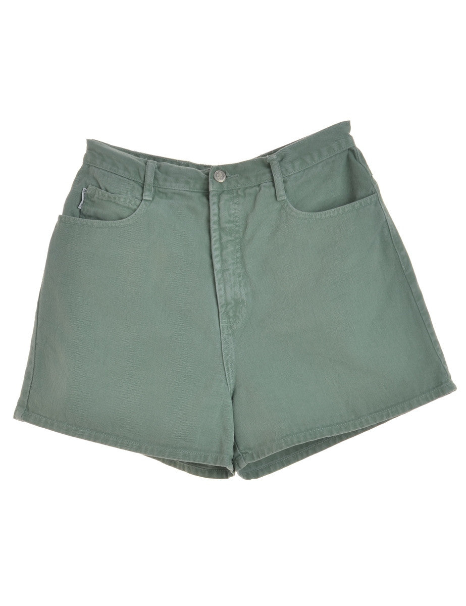 Denim Shorts Green With Multiple Pockets