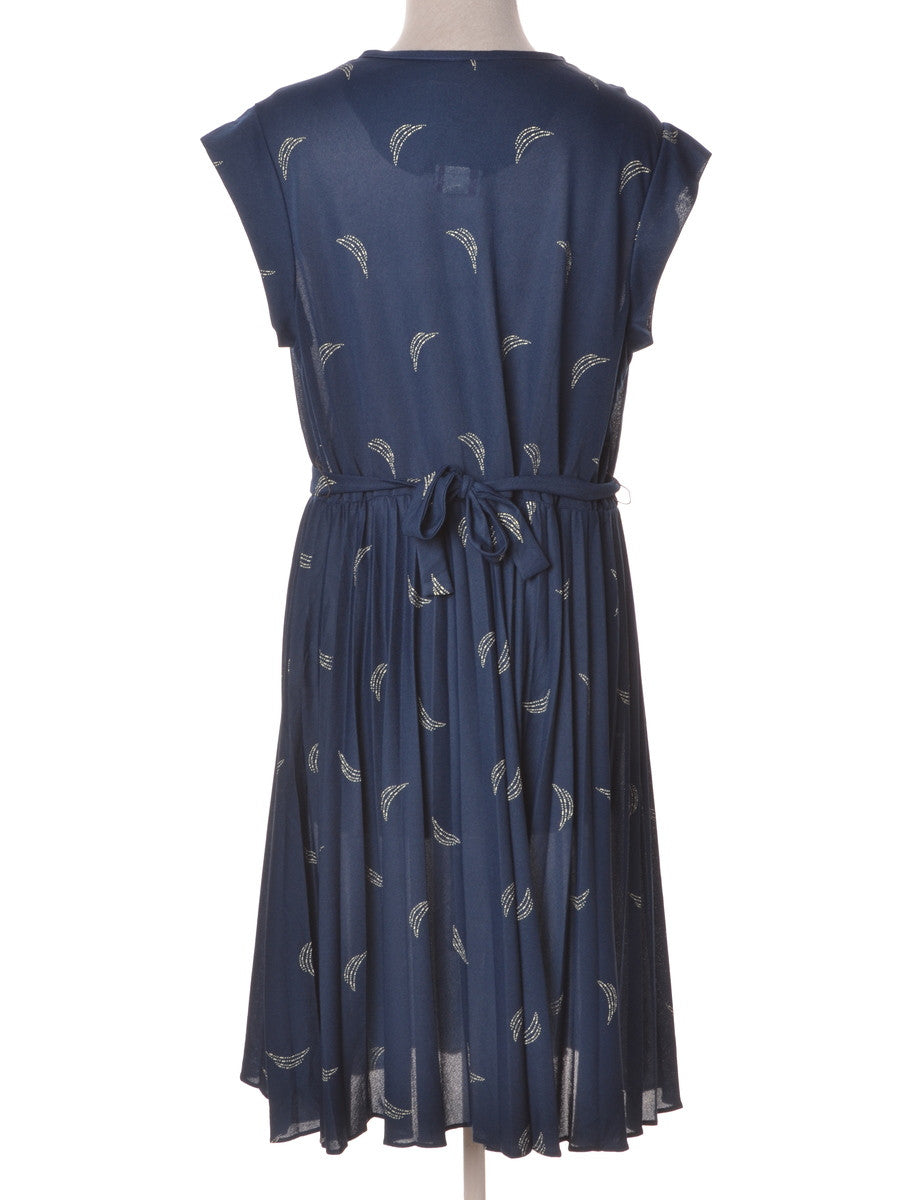 Vintage Day Dress Blue With Back Tie