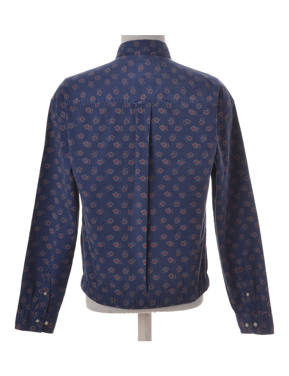 Beyond Retro Label Conversational Shacket Blue With A Stand Collar
