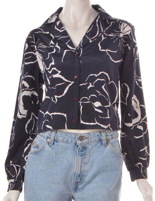 Label Cropped Long Sleeve Floral Print Shirt