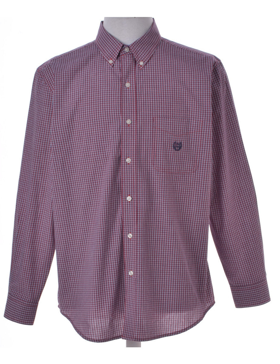 Checked Shirt Pink With A Button Down Collar