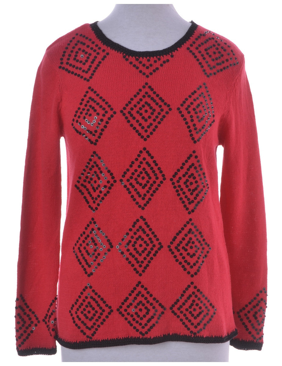 Jumper Red With Sequins