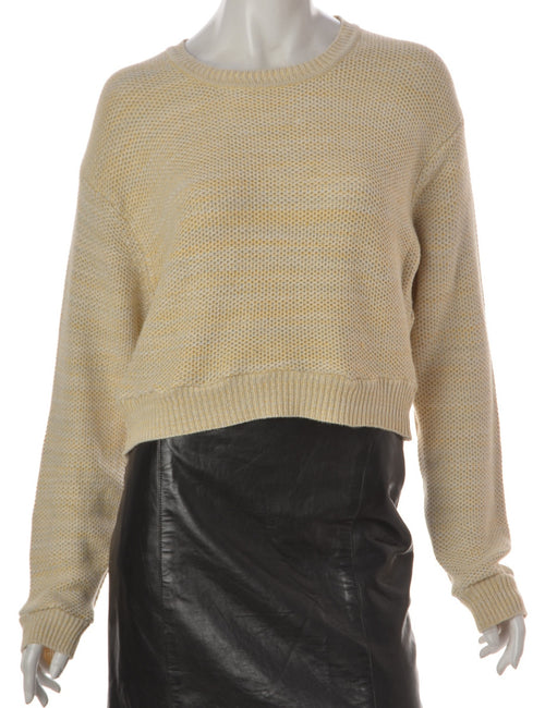 Beyond Retro Label Alice Cropped Plain Knitted Jumper Off White