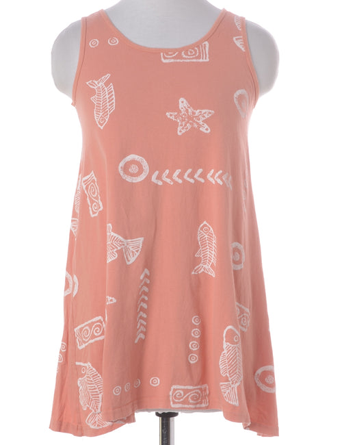 Summer Dress Pastel Peach With A Round Neck