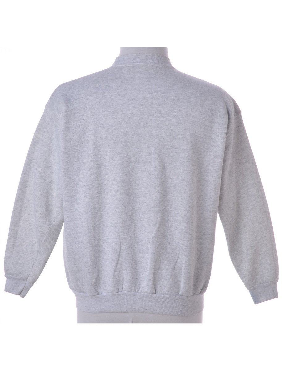 Printed Sweatshirt Grey With A Round Neck
