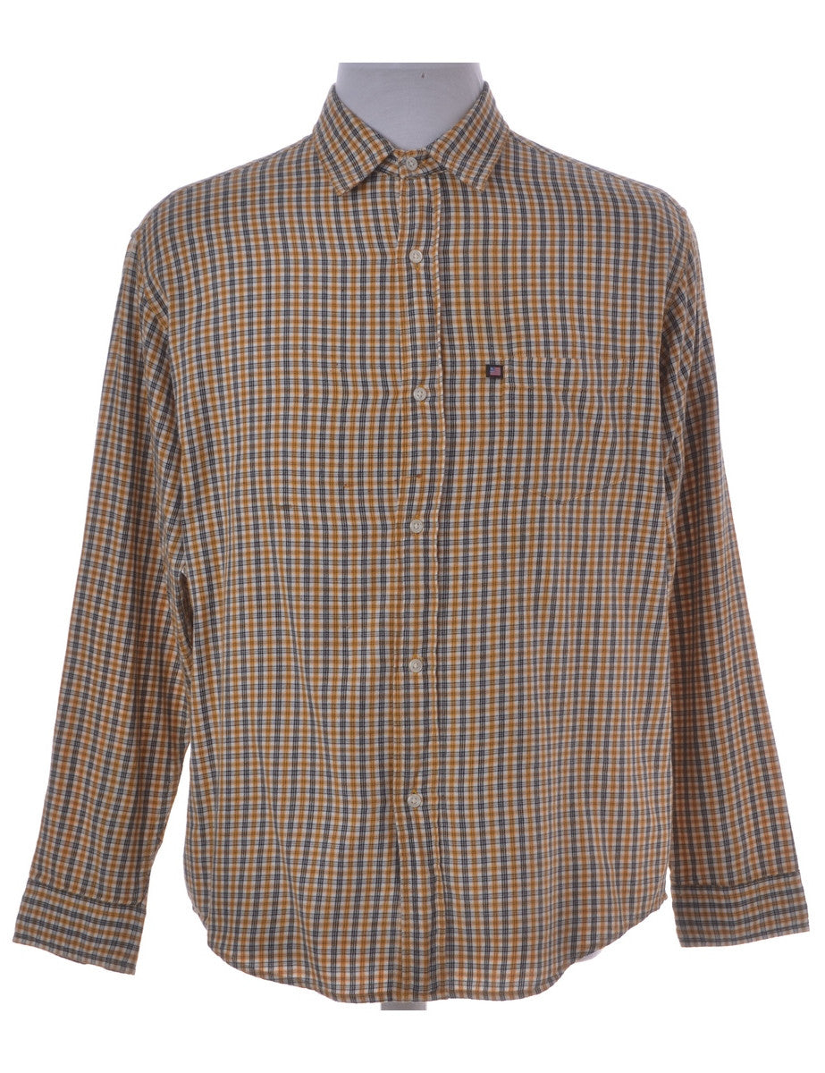 Checked Shirt Mustard With One Pocket