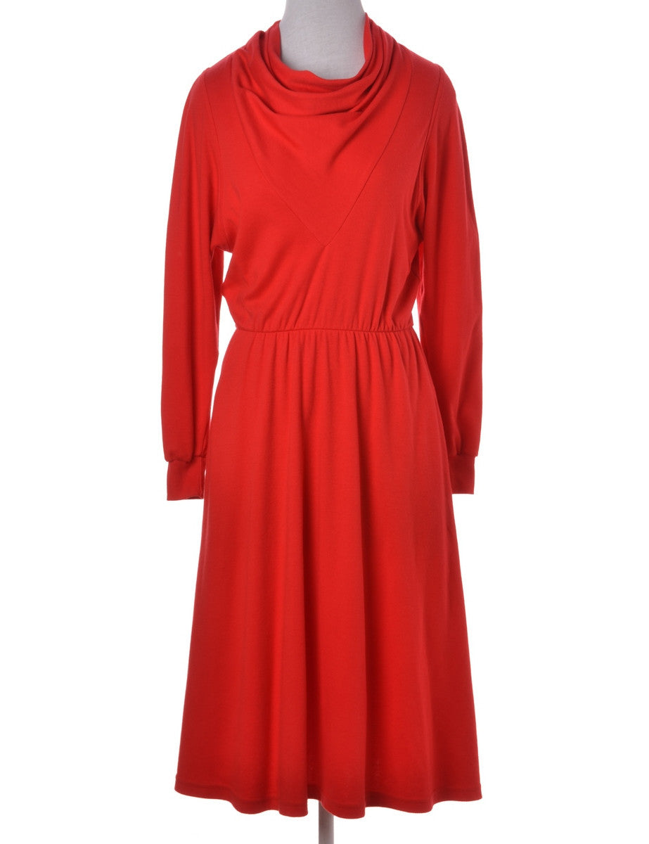 Winter Dress Red With A Flared Skirt