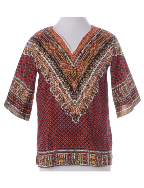 Vintage Printed Top Maroon With A V-neck