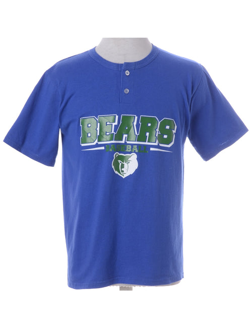 Sports T-shirt Blue With A Button Front Neck