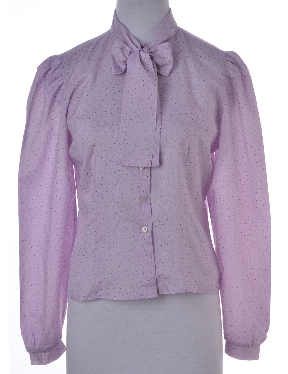 Blouse Lilac With A Pussy Bow