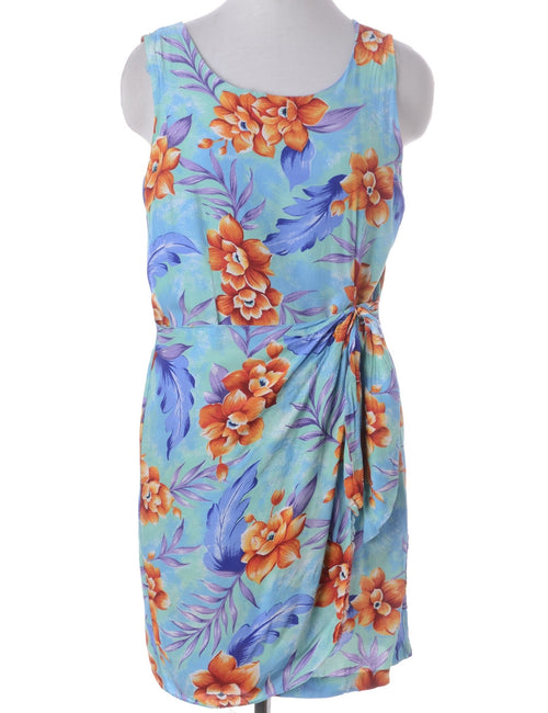 Vintage Summer Dress Multi-colour With A Round Neck