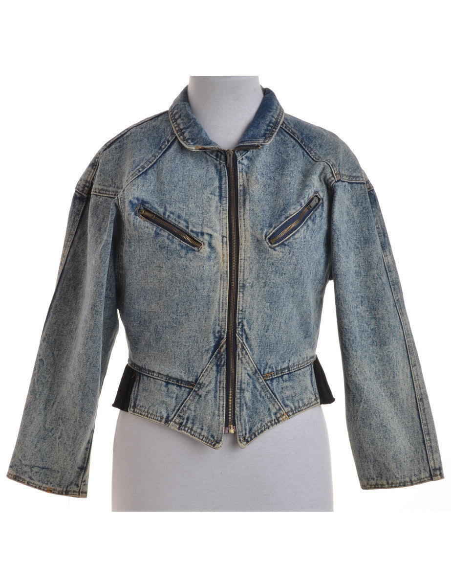 Denim Jacket Stone Wash With Pockets