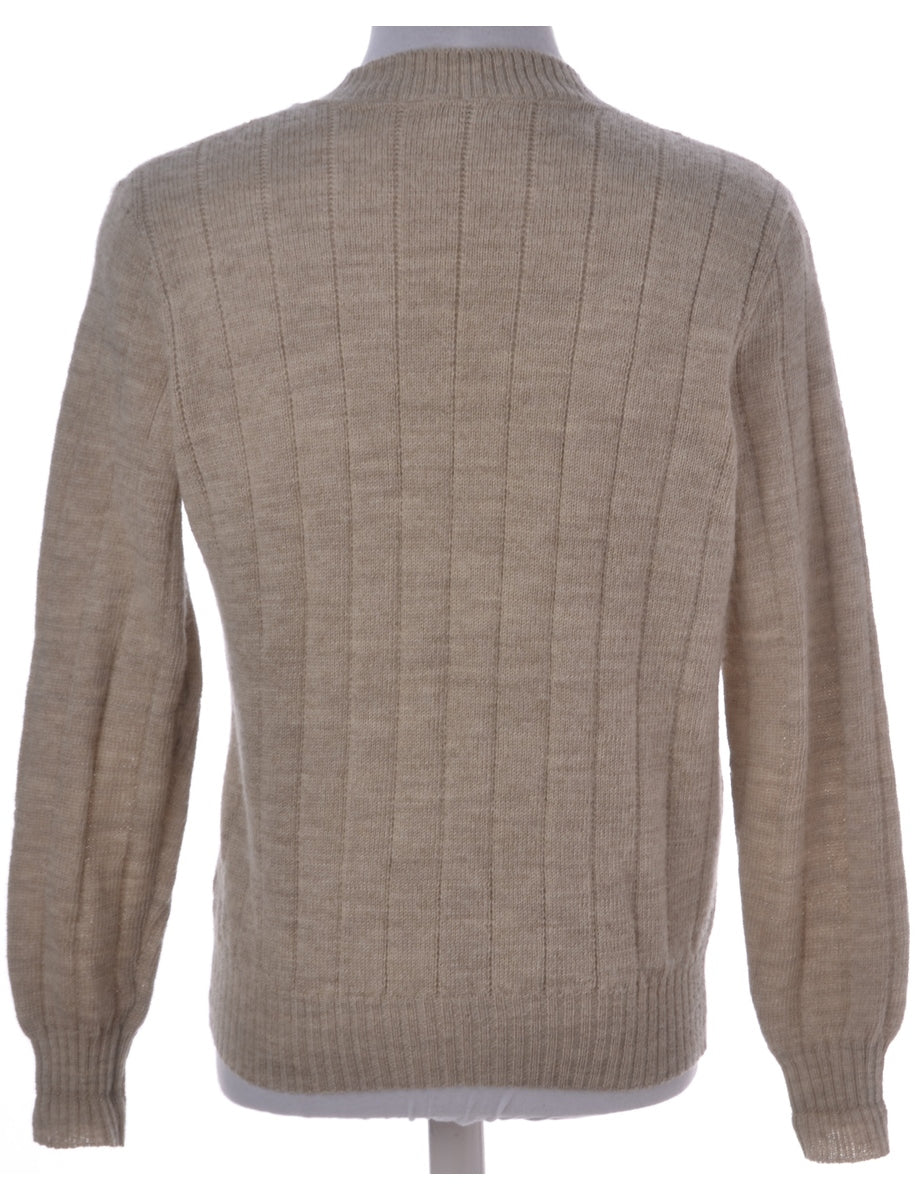 Beyond Retro Label Beige V-neck Jumper